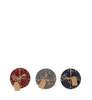 """Coaster red blue grey 3 assorted - 3.5"""""""