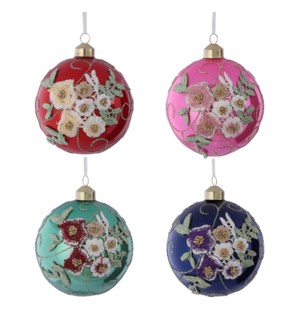 """Bauble glass red pink green blue 4 assorted - 4"""""""