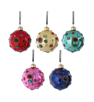 """Ornament ball glass pink yellow green blue red 5 assorted - 3.25"""""""