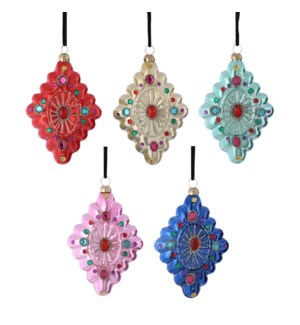 """Ornament diamond glass pink yellow green blue red 5 assorted - 3.25x1.25x4.75"""""""