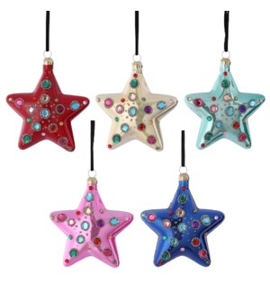 """Ornament star glass pink yellow green blue red 5 assorted - 4x1.5"""""""