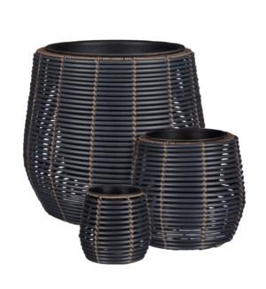 "Cesena pot round black set of 3 - 17.75x15.75"""