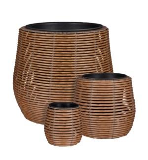 "Cesena pot round l. brown set of 3 - 17.75x15.75"""