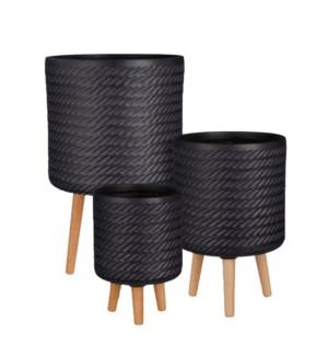 "Corda pot on stand black set of 3 - 14.25x24.5"""
