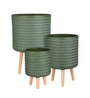 """Corda pot on stand d. green set of 3 - 14.25x24.5"""""""