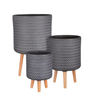 "Corda pot on stand grey set of 3 - 14.25x24.5"""