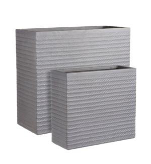 """Corda pot rectangle grey set of 2 - 29.25x11.75x26"""""""
