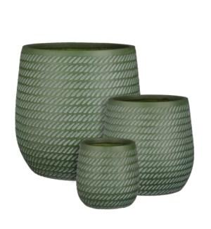 "Corda pot round d. green set of 3 - 17.25x17.25"""
