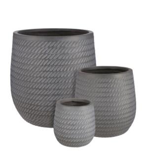 "Corda pot round grey set of 3 - 17.25x17.25"""