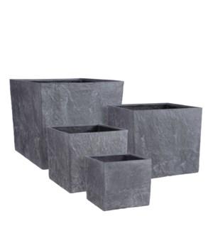 "Bravo pot square d. grey set of 4 slate - 17.75x17.75x15.75"""