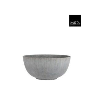 "Bravo bowl round l. grey zinc finish - 21.75x10.25"""