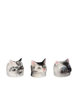 "Pot cat white black 3 assorted - 4.5x4.75x4.25"""