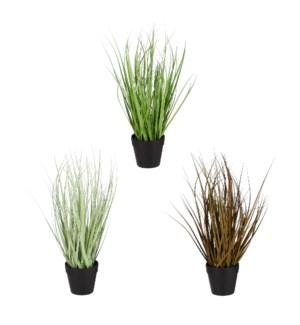 "Grass in pot bordeaux l. green green 3 assorted - 6x15.75"""