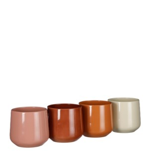 "Amber pot round d. brown brown l. pink beige 4 assorted PDQ - 5.5x5.25"""