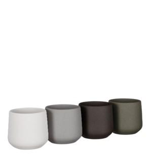 "Amber pot round l. grey grey d. grey green 4 assorted sand PDQ - 5.5x5.25"""