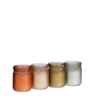 """Candle citronella l. blue d. red grey green 4 assorted PDQ 140 pieces - 4x5"""""""