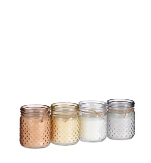 """Candle citronella transparent l. yellow pink grey 4 assorted PDQ 140 pieces - 4x5"""""""