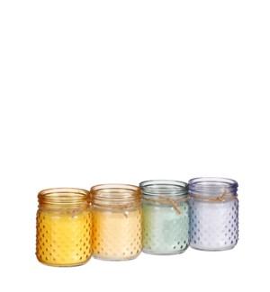 "Candle citronella yellow orange l. purple green 4 assorted PDQ 140 pieces - 4x5"""