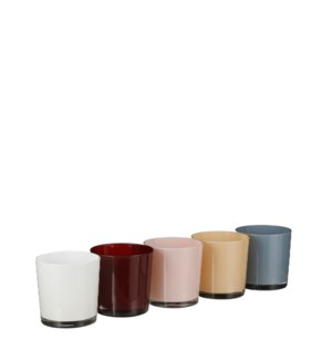 """Orchid pot glass l. blue d. red l. pink cream white 5 assorted PDQ - 5x5"""""""