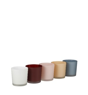 """Orchid pot glass l. blue white cream l. pink d. red frosted 5 assorted PDQ - 5x5"""""""