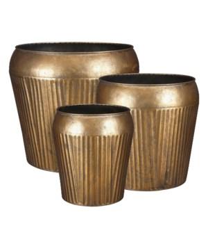 "Beli pot round gold set of 3 - 12.75x12.5"""