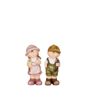 "Boy girl green pink 2 assorted - 3.5x3.25x8.5"""