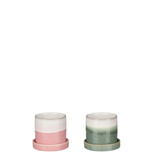 """Inger pot with saucer green pink 2 assorted - 3.25x2.75"""""""