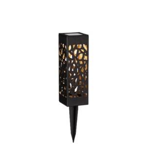 """Garden stake lantern black solar warm white led - 2.25x2.25x7"""""""