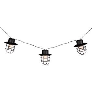 Party lights solar black 10 white bulbs - 6'
