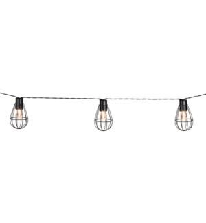Party lights solar black 10 warm white bulbs - 6'