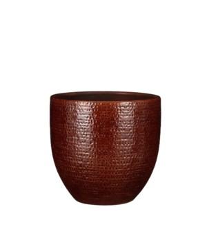 "Carrie pot round brown glaze - 9.5x8.75"""