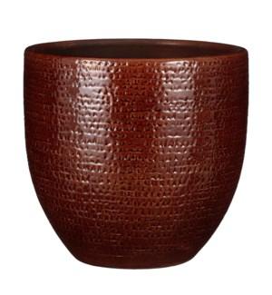 "Carrie pot round brown glaze - 15.25x14.25"""