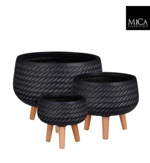 "Corda bowl on stand black set of 3 - 16.5x12.5"""