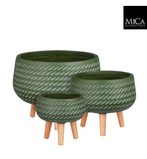 """Corda bowl on stand d.green set of 3 - 16.5x12.5"""""""