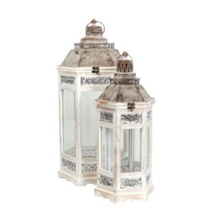 Camondo lantern white set of 2 - l33xw29xh70cm