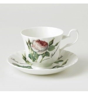 Redoute Rose Anne Teacup & Saucer Set