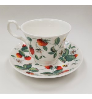 Alpine Strawberry Anne Teacup & Saucer Set