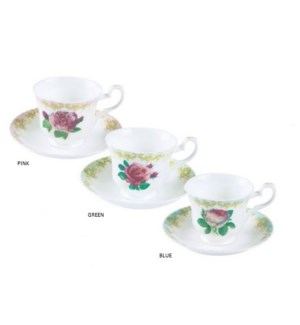 Vintage Roses Teacup & Saucer - Green Set