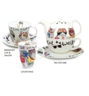 Animal Fashion Cat Laura Breakfast Cup & Saucer Set