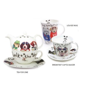 Animal Fashion Dog Laura Breakfast Cup & Saucer Set
