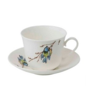 Birds Chatworth Breakfast Cup & Saucer - Blue Tit Set