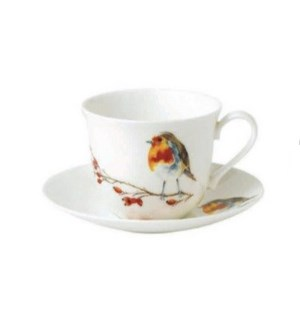 Birds Chatworth Breakfast Cup & Saucer - Robin Set