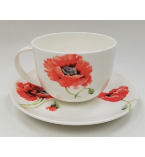 Garden Poppy Breakfast Cup & Saucer Set