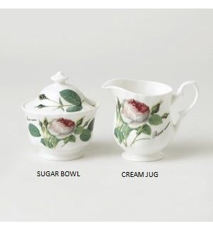 Redoute Rose Covered Sugar Bowl Set