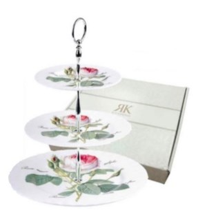 Redoute Rose 3-Tier Cake Stand