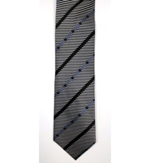 Canadian Souvenir Silver Stripe w. Black Maple Leaf Silk Tie