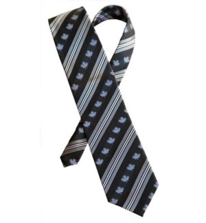 Canadian Souvenir Black w. Silver Stripe Maple Leaf Silk Tie