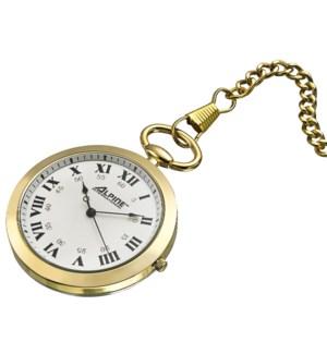 Quartz Pocket Watch, Gold Finish, Open Face