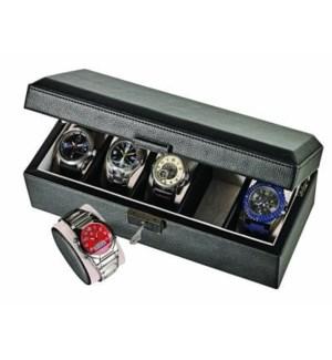 Leatherette 5-Watch Box w. Pocket