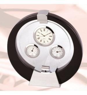 Black Clock, Thermometer & Hygrometer